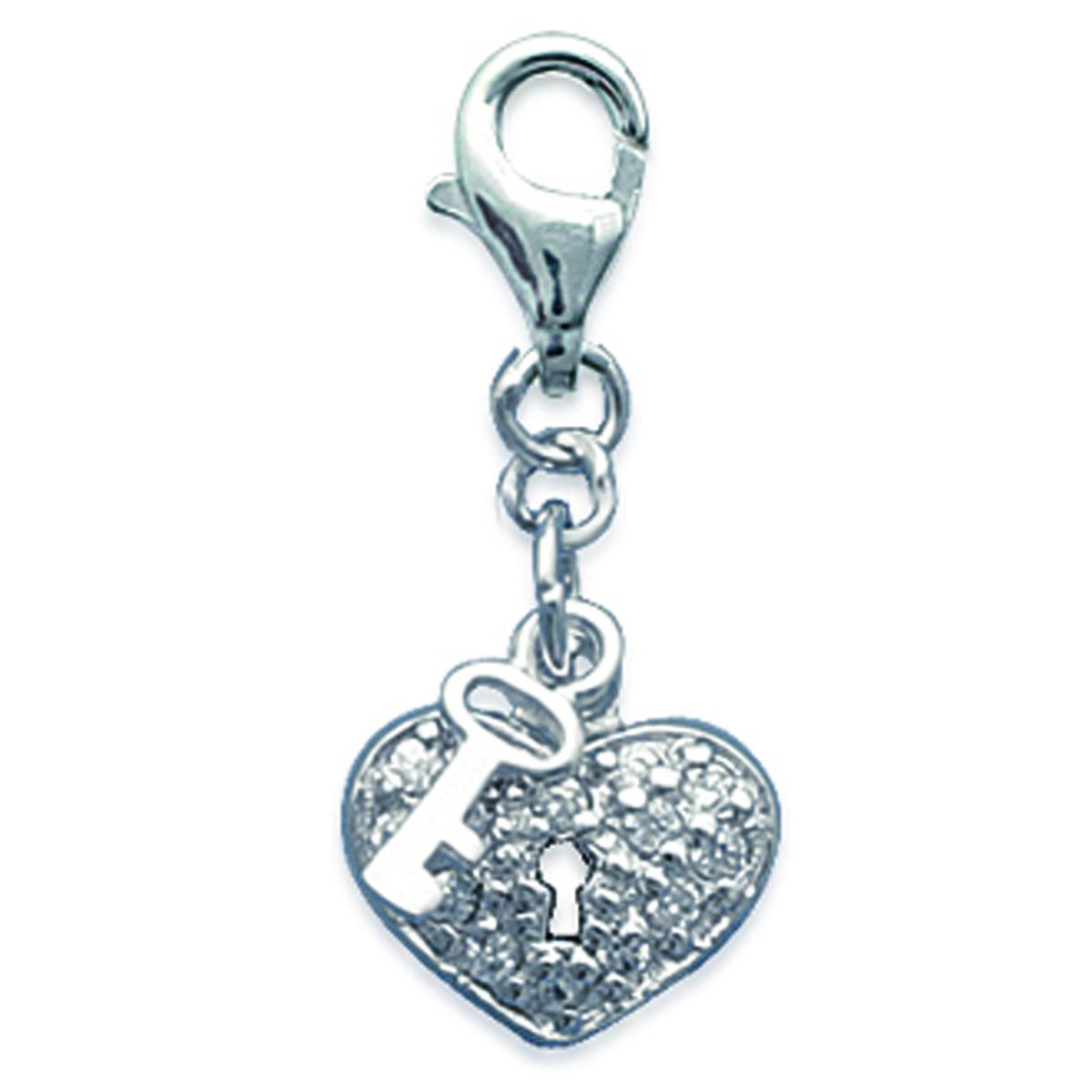 Pendentif Charm Argent \'Love Divine\' blanc argenté - 15x11 mm - [F6457]