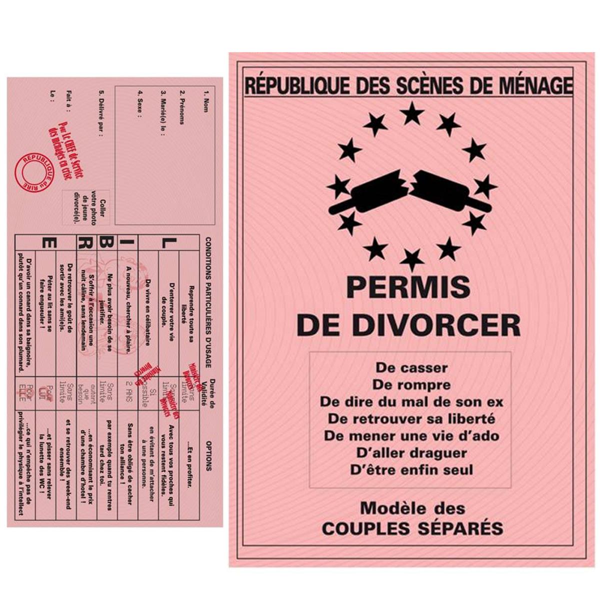 Carte spéciale \'Permis de Divorcer\' - 205x145 cm - [K1951]