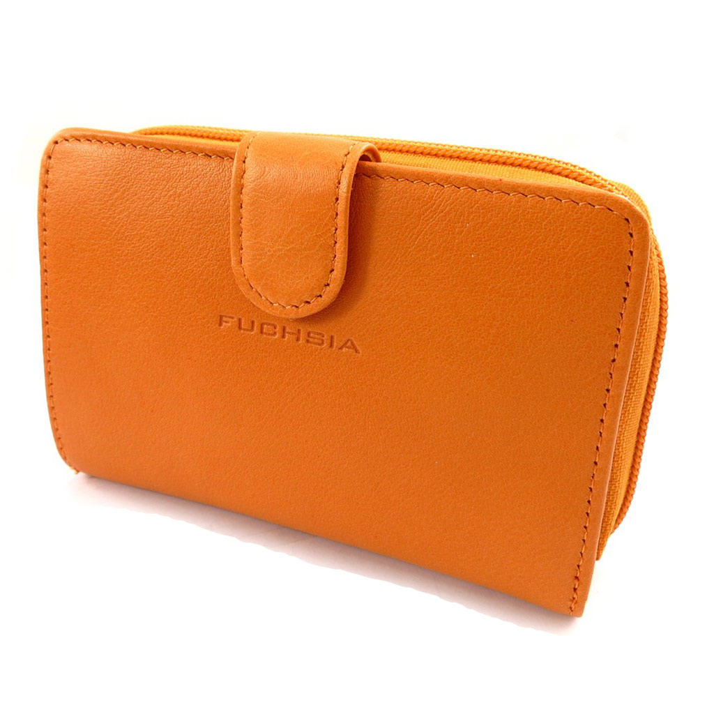 Portefeuille cuir \'Fuchsia\' orange - [K1977]