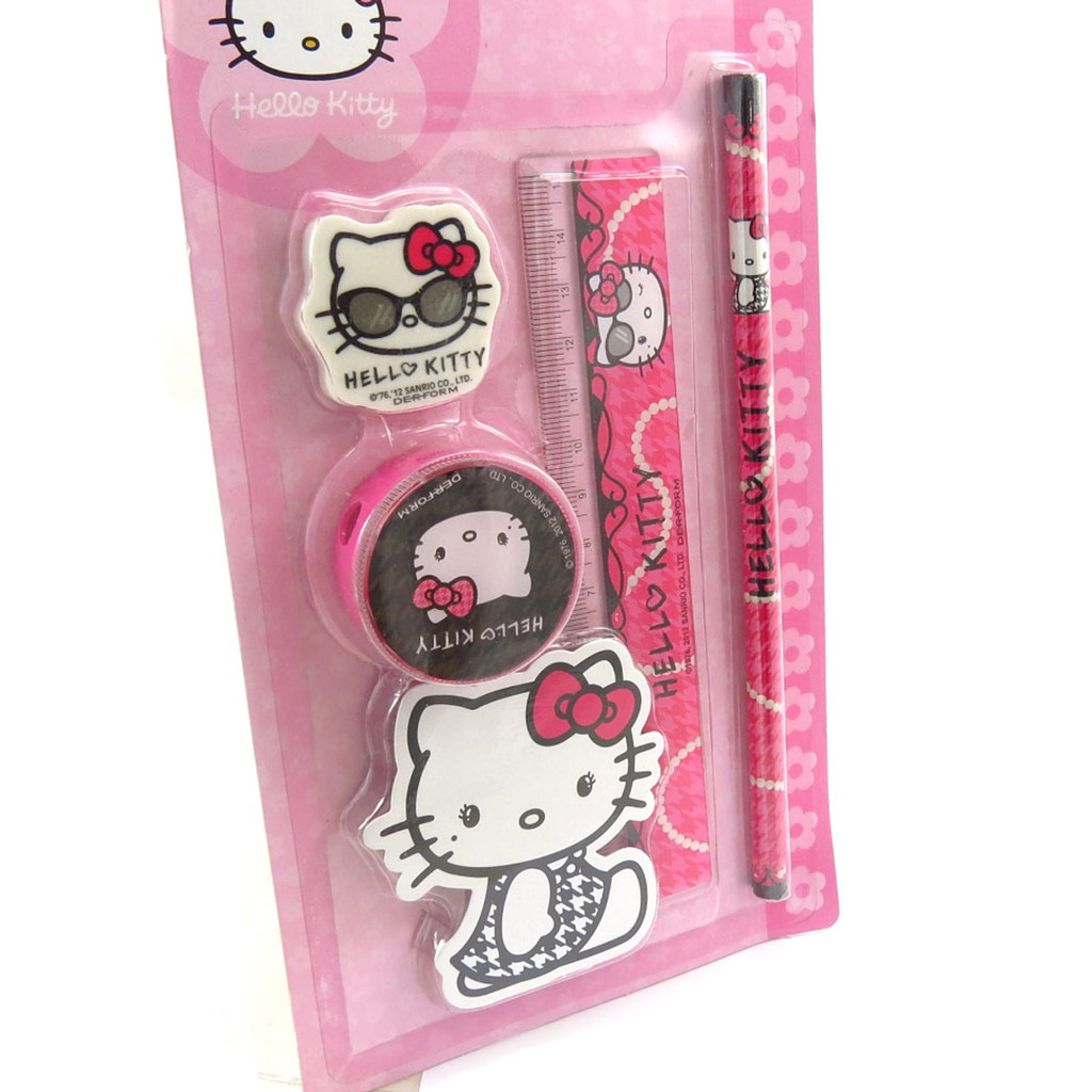 Set scolaire \'Hello Kitty\' rose fuschia - [K2107]