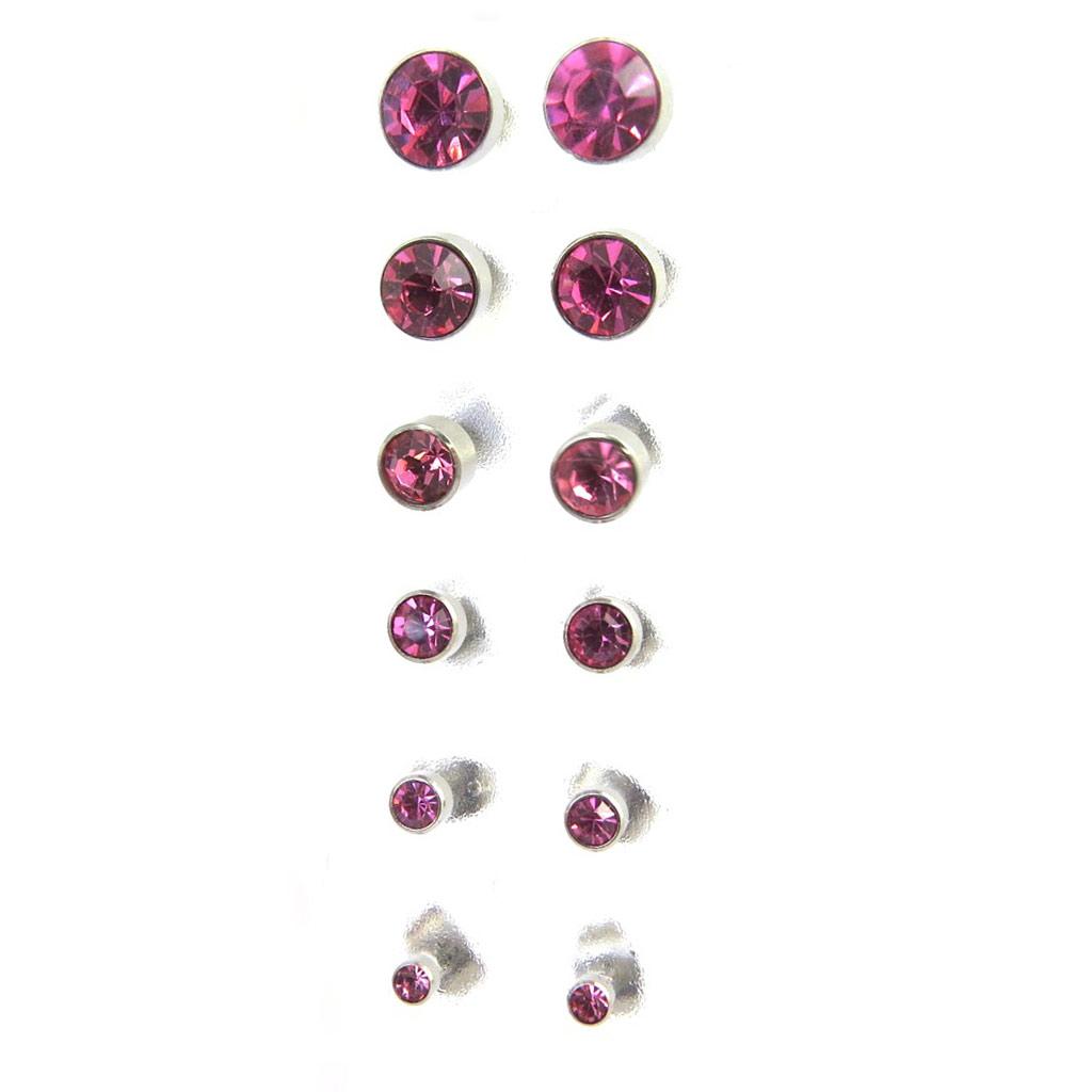 6 paires de boucles \'Essentiel\' rose (3 à 8 mm) - [M1899]