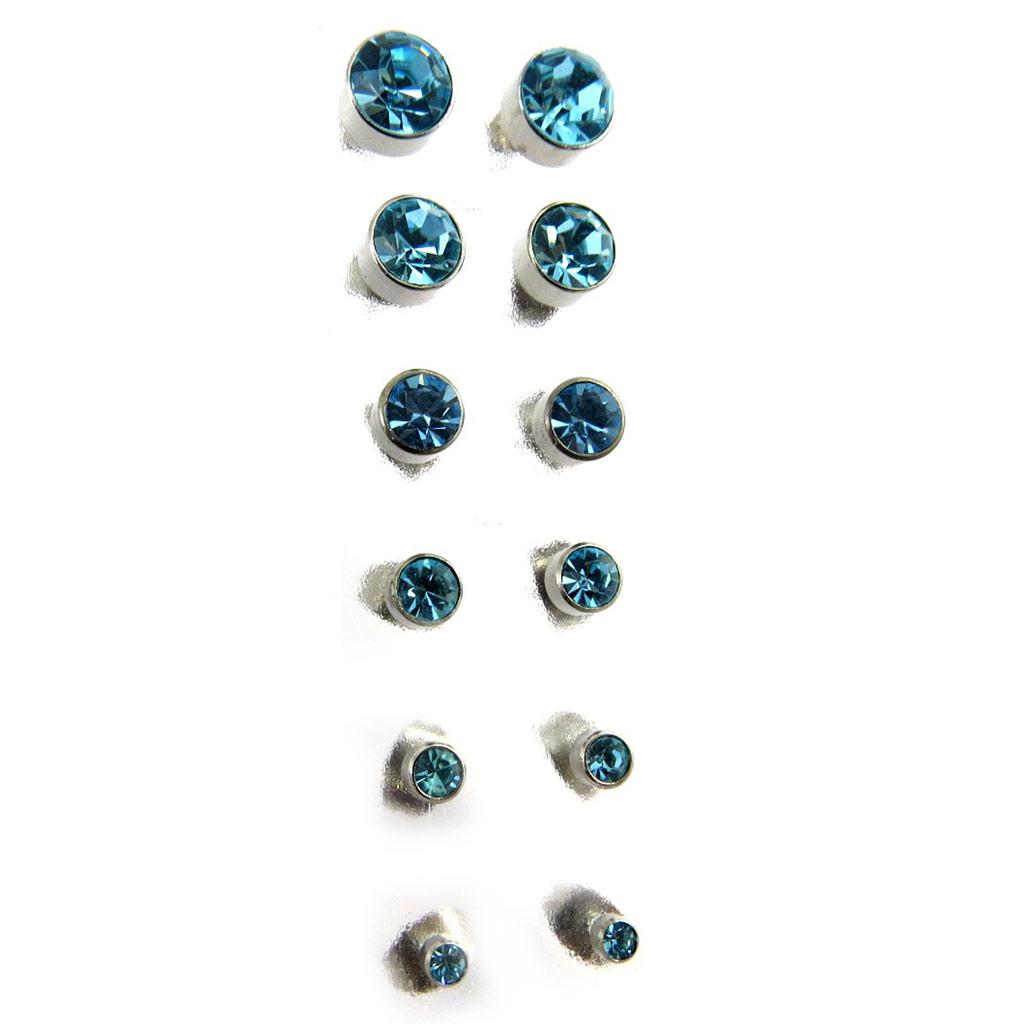 6 paires de boucles \'Essentiel\' turquoise (3 à 8 mm) - [M1900]