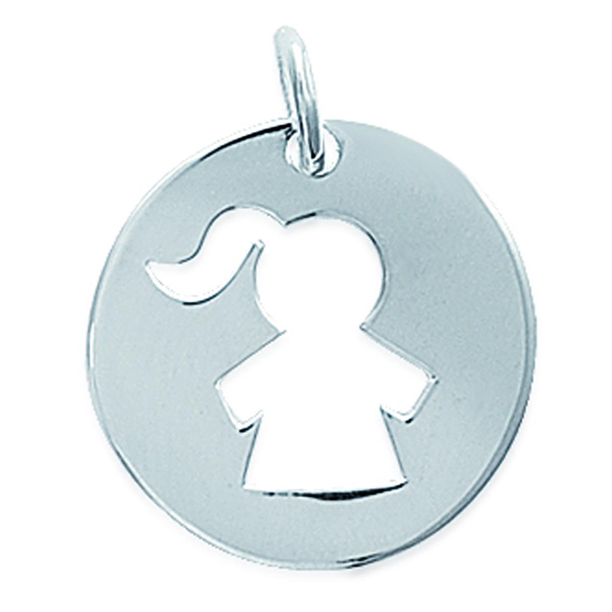 Médaille Argent \'Fille\' argenté - 20 mm - [F6735]