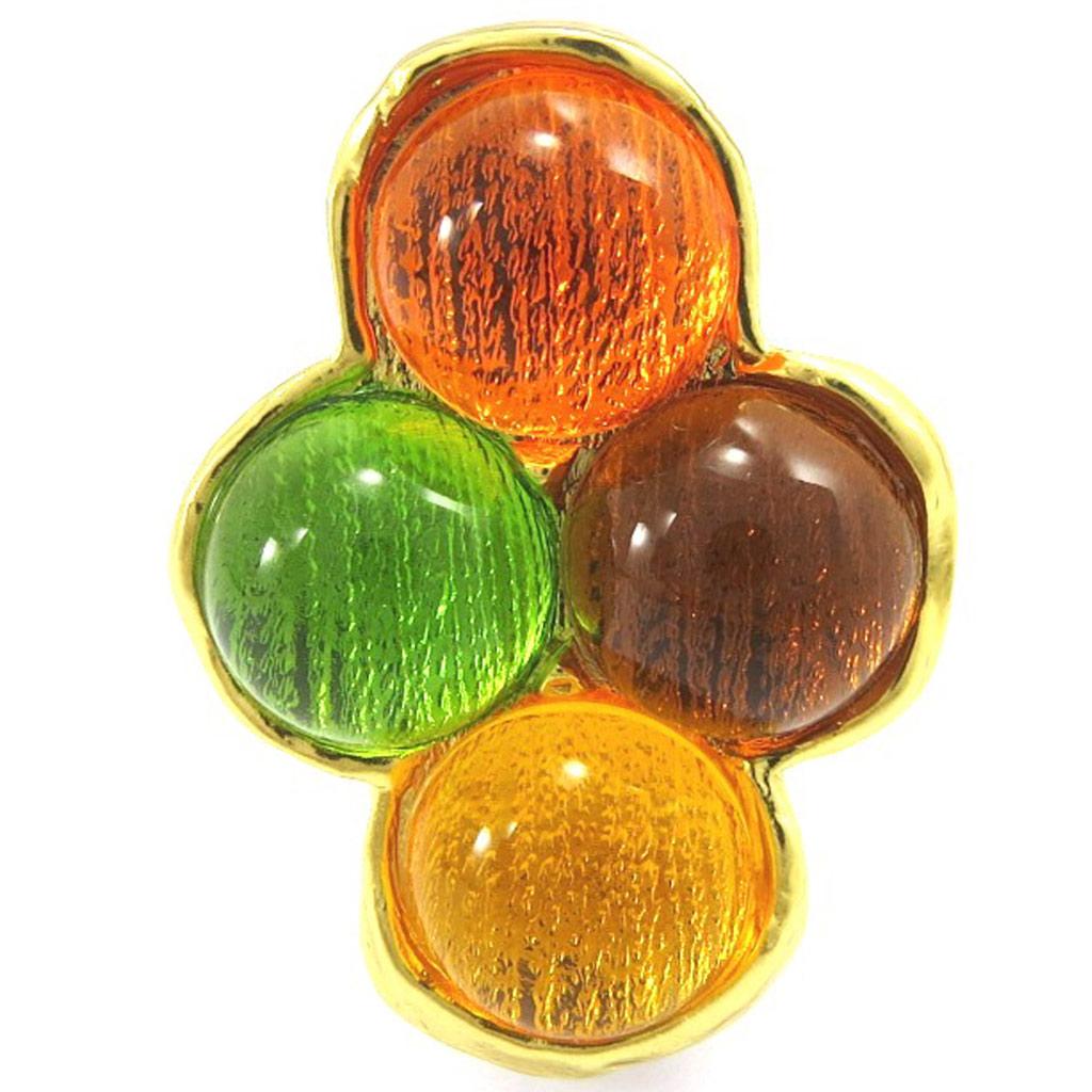 Bague Créateur \'Dragibus\' Orange Vert  - [E6267]