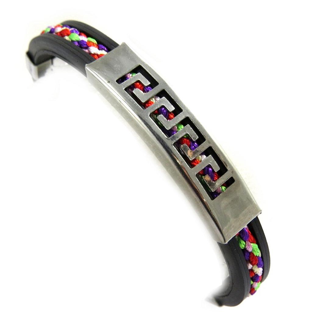 Bracelet acier \'Rhodes\' noir multicolore - [M1931]