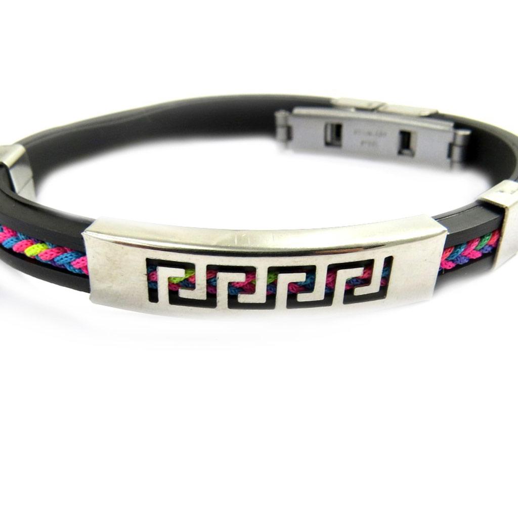 Bracelet acier \'Rhodes\' noir multicolore - [M1932]