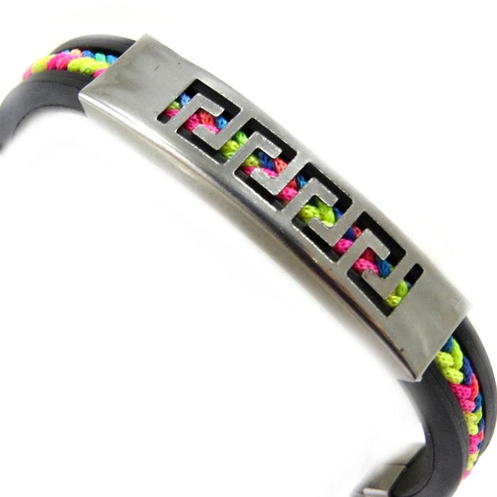Bracelet acier \'Rhodes\' noir multicolore - [M1933]