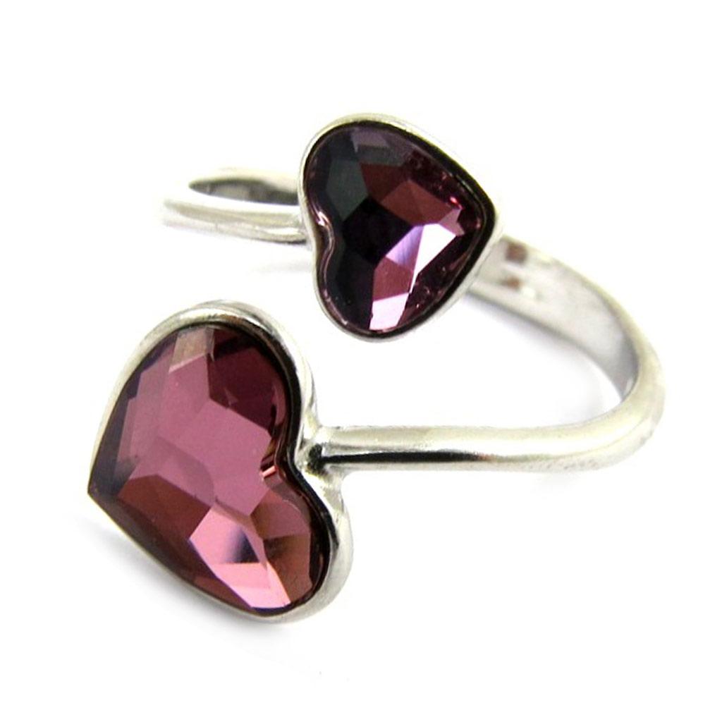 Bague Argent \'Love\' violet (cristal de Swarovski) - [M2010]