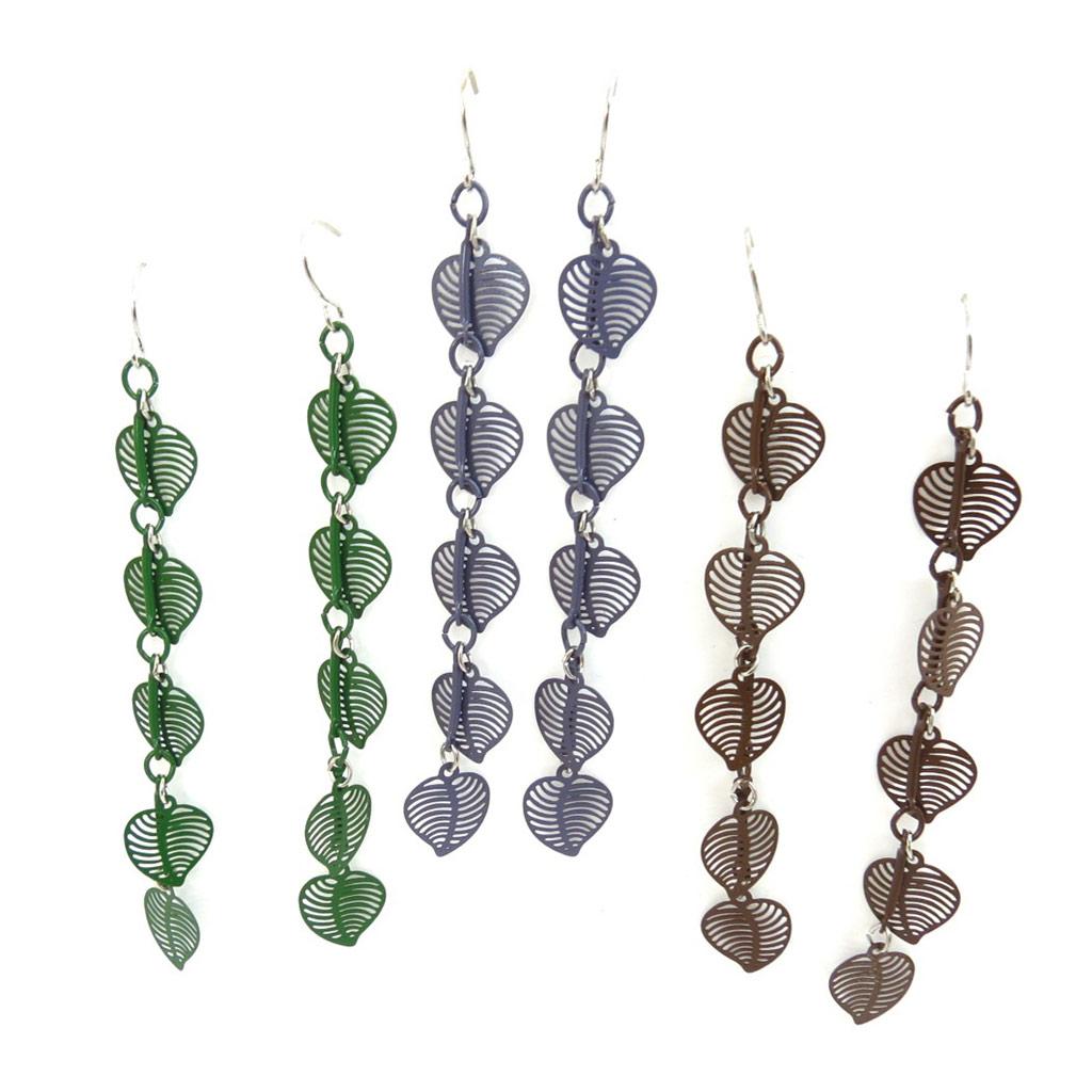 3 paires de boucles \'Love\' vert violet marron - [K2493]