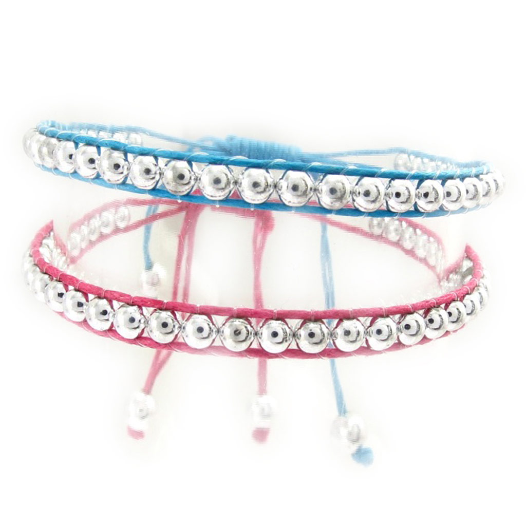 2 bracelets \'Kilimanjaro\' rose bleu - [K2508]