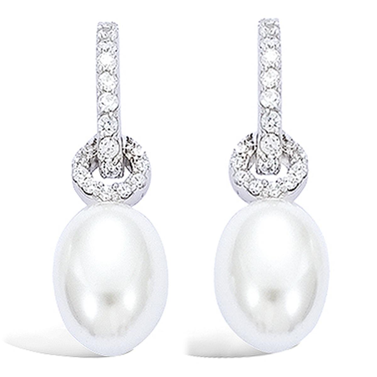 BO Argent \'Pearl Beauty\' Blanc argenté (rhodié) - 30x10 mm - [F6929]