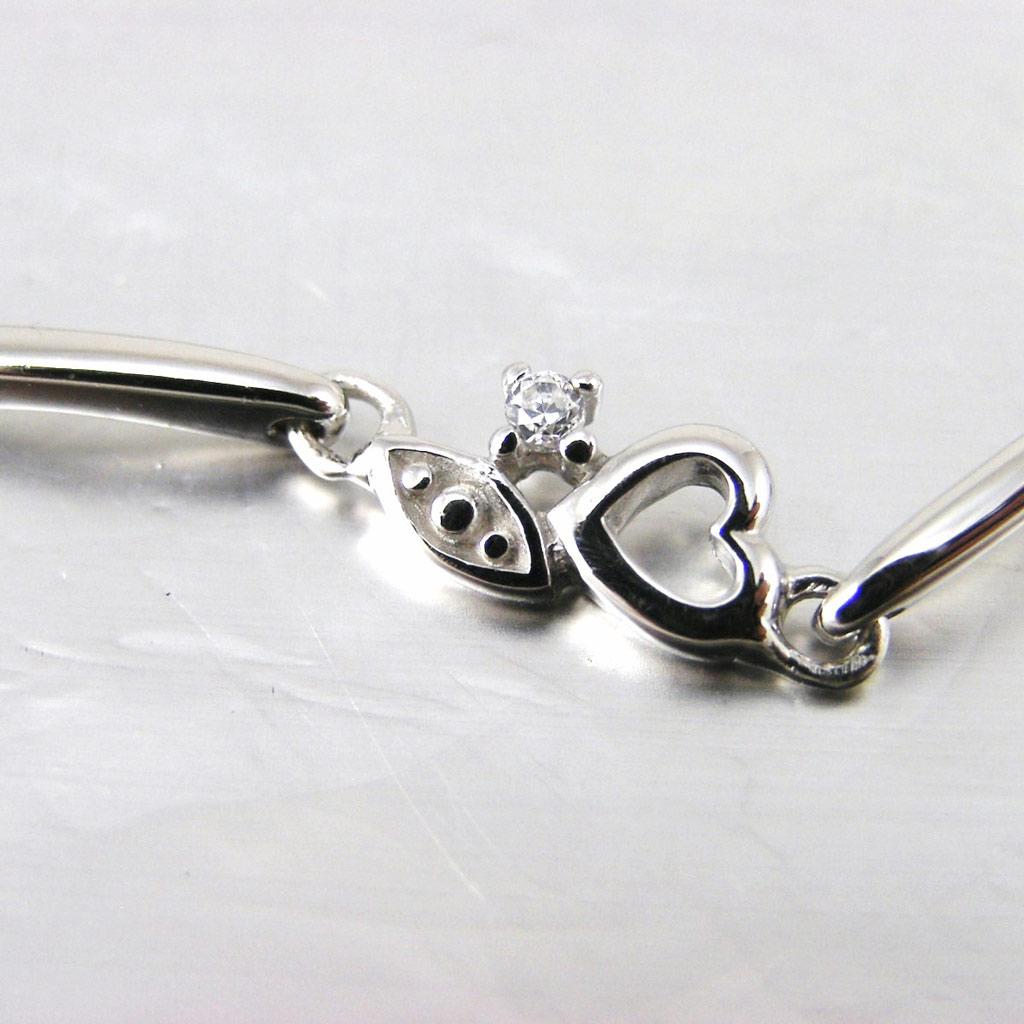 Bracelet Argent \'Coeur Etincelant\' Blanc - [F6977]