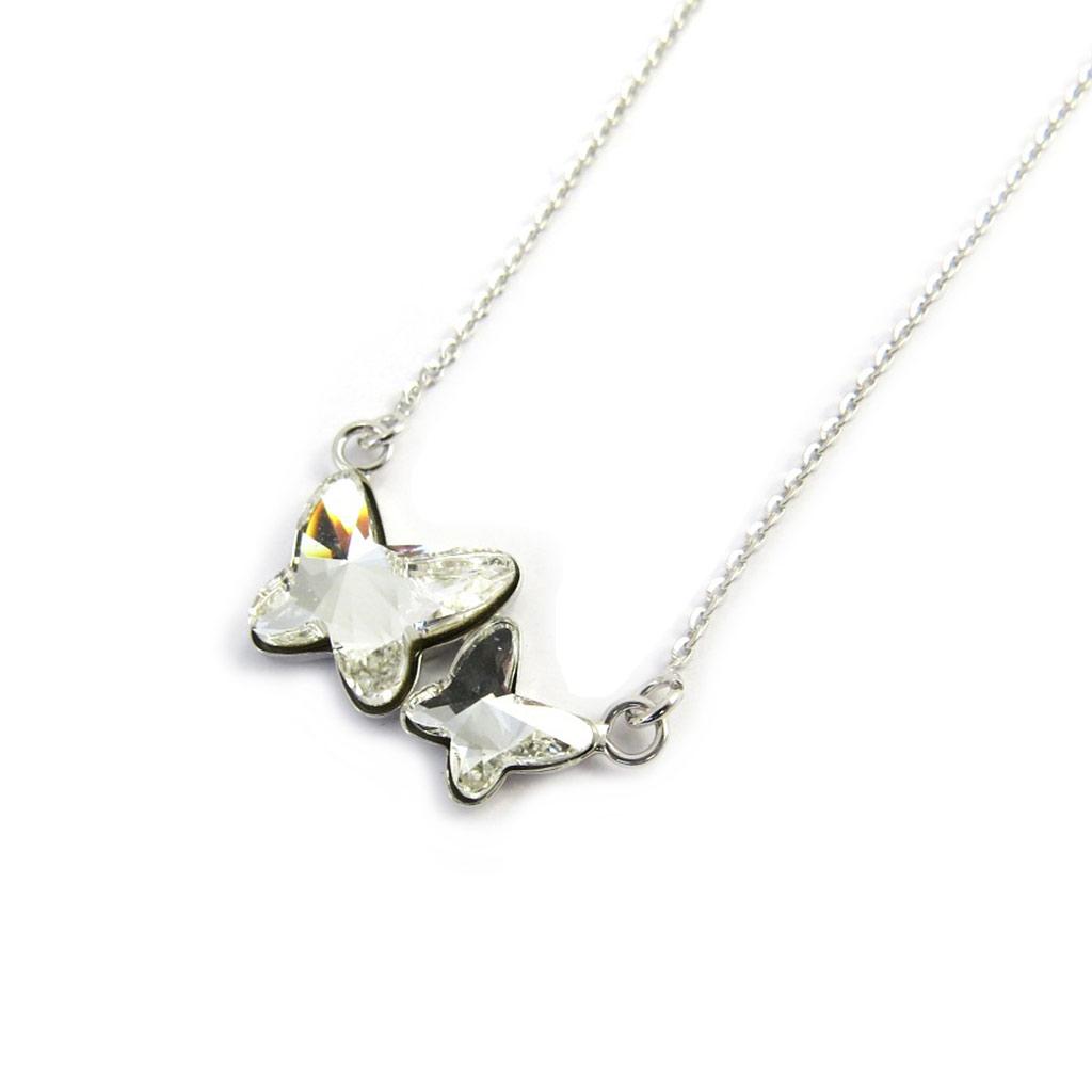 Collier Argent \'Papillons\' blanc (cristal de Swarovski) - [M2053]