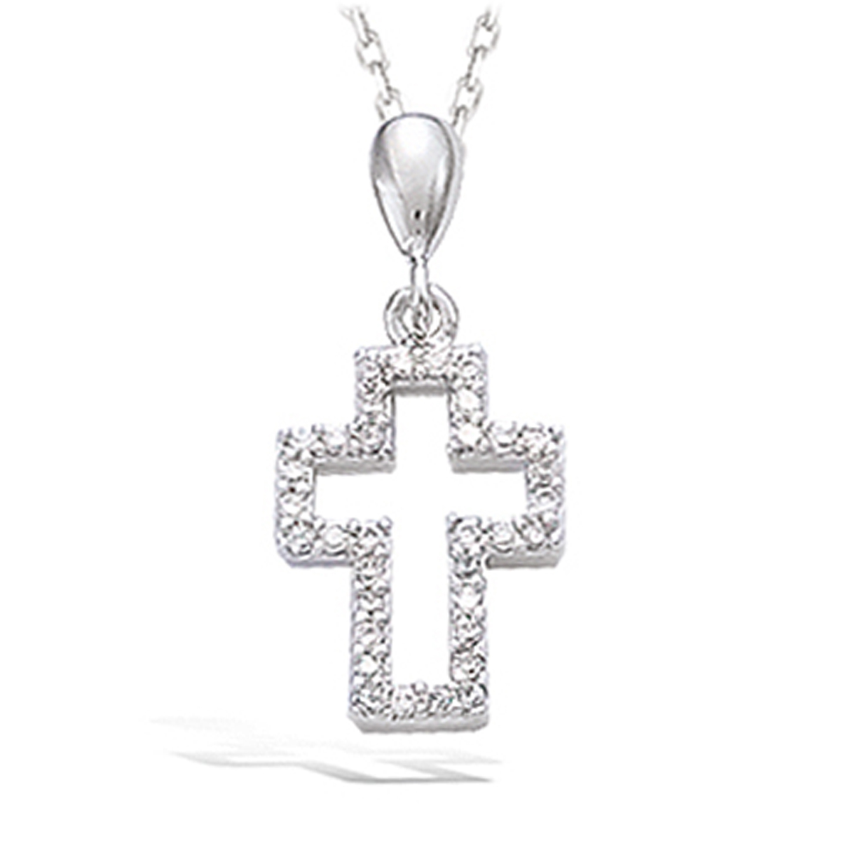 Pendentif Argent \'Croix de Cristal\' blanc argenté (rhodié) - 20x10 mm - [K2569]