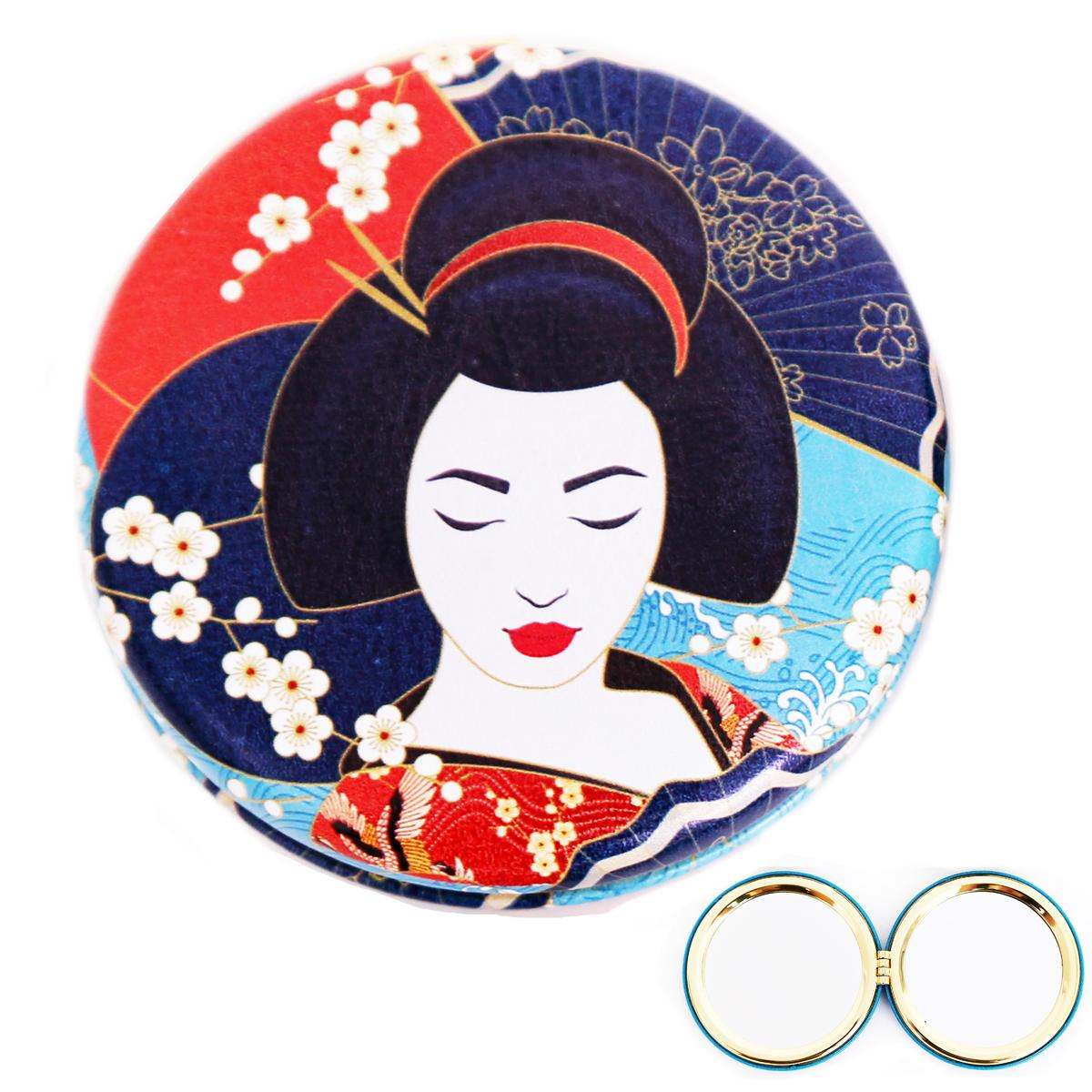 Miroir Créateur \'Geisha\' rouge bleu - 7x2 cm - [R0842]