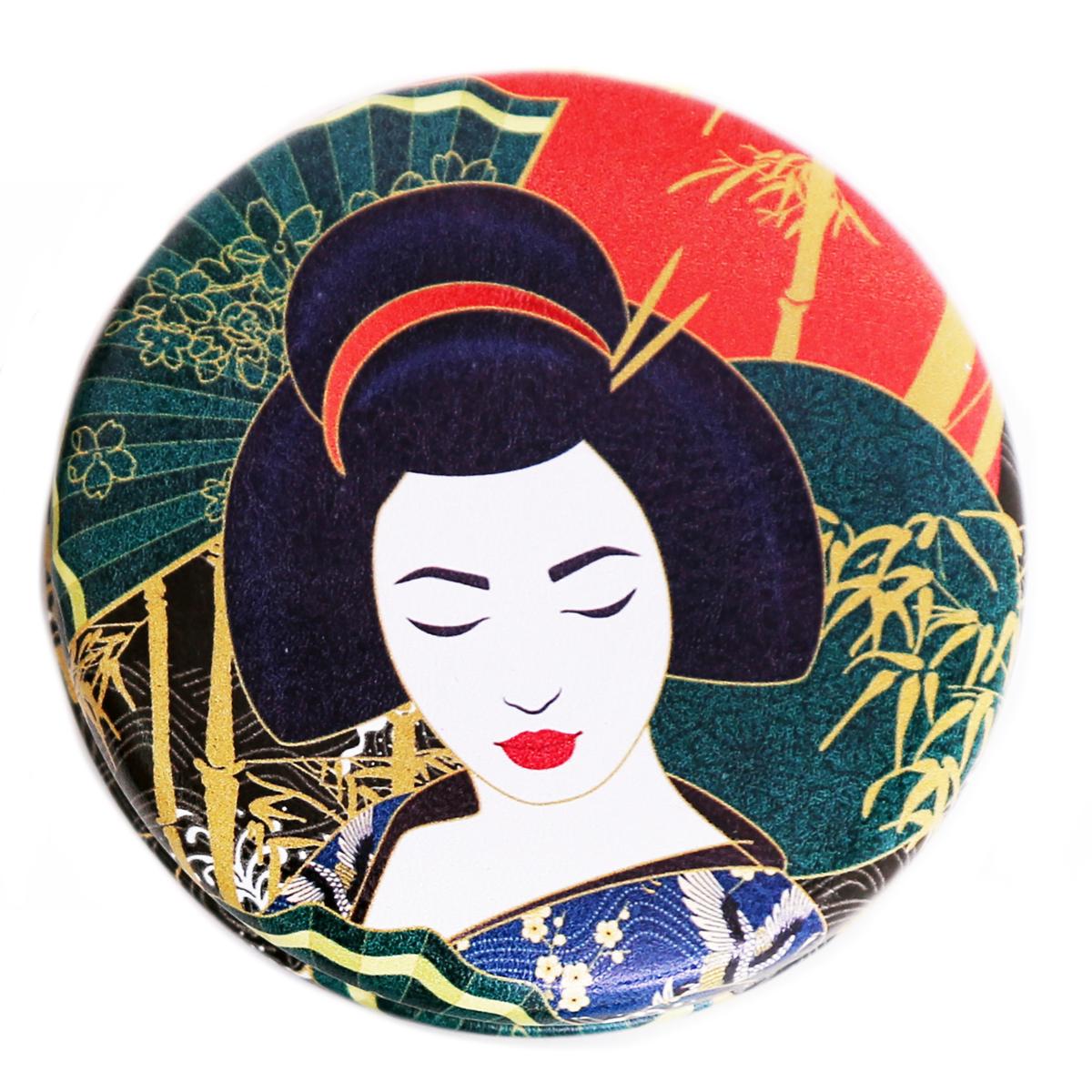 Miroir Créateur \'Geisha\' rouge vert - 7x2 cm - [R0843]