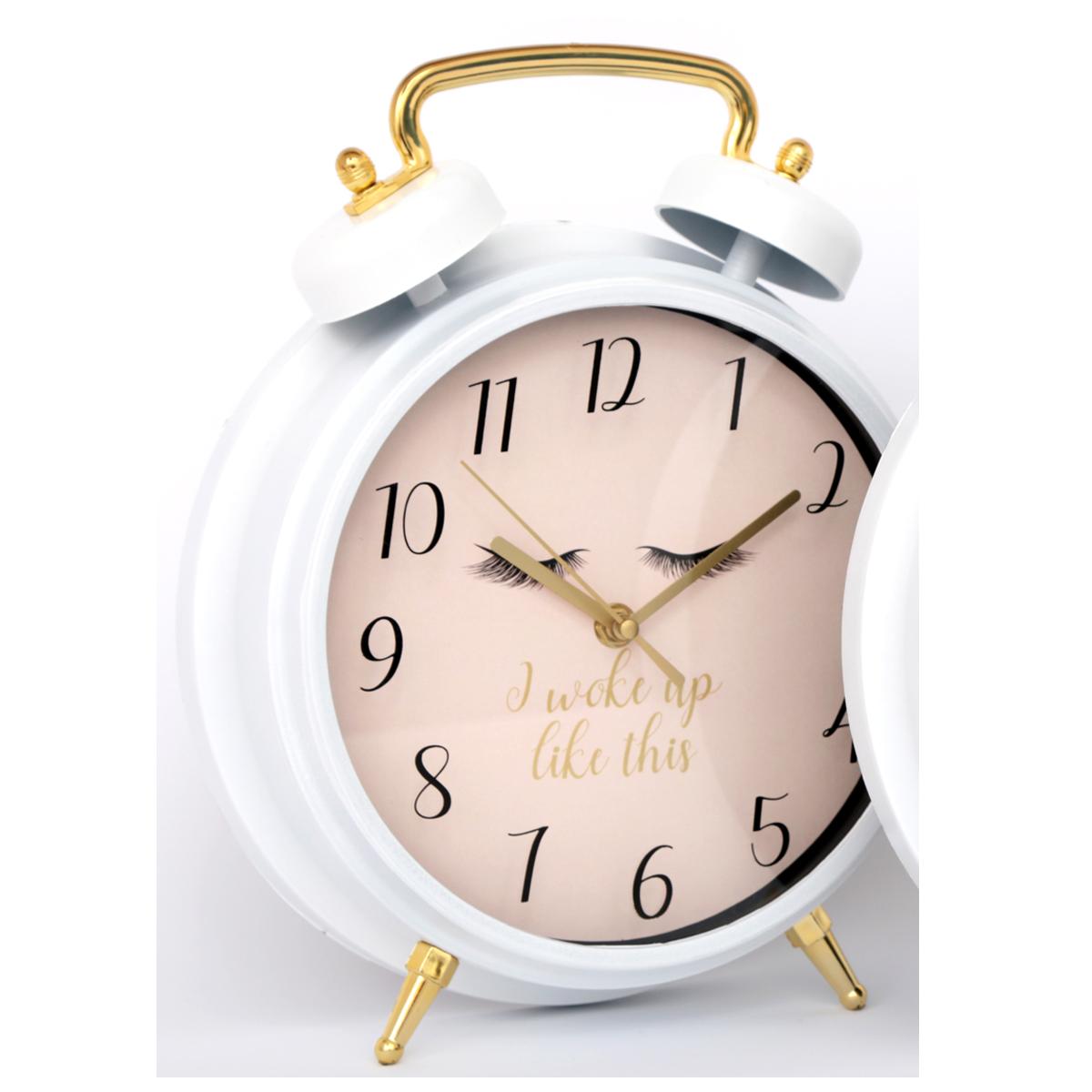 Réveil Cloche géant \'Diva - Yeux Endormis\' rose (I woke up like this) -30x25x7 cm - [R0853]