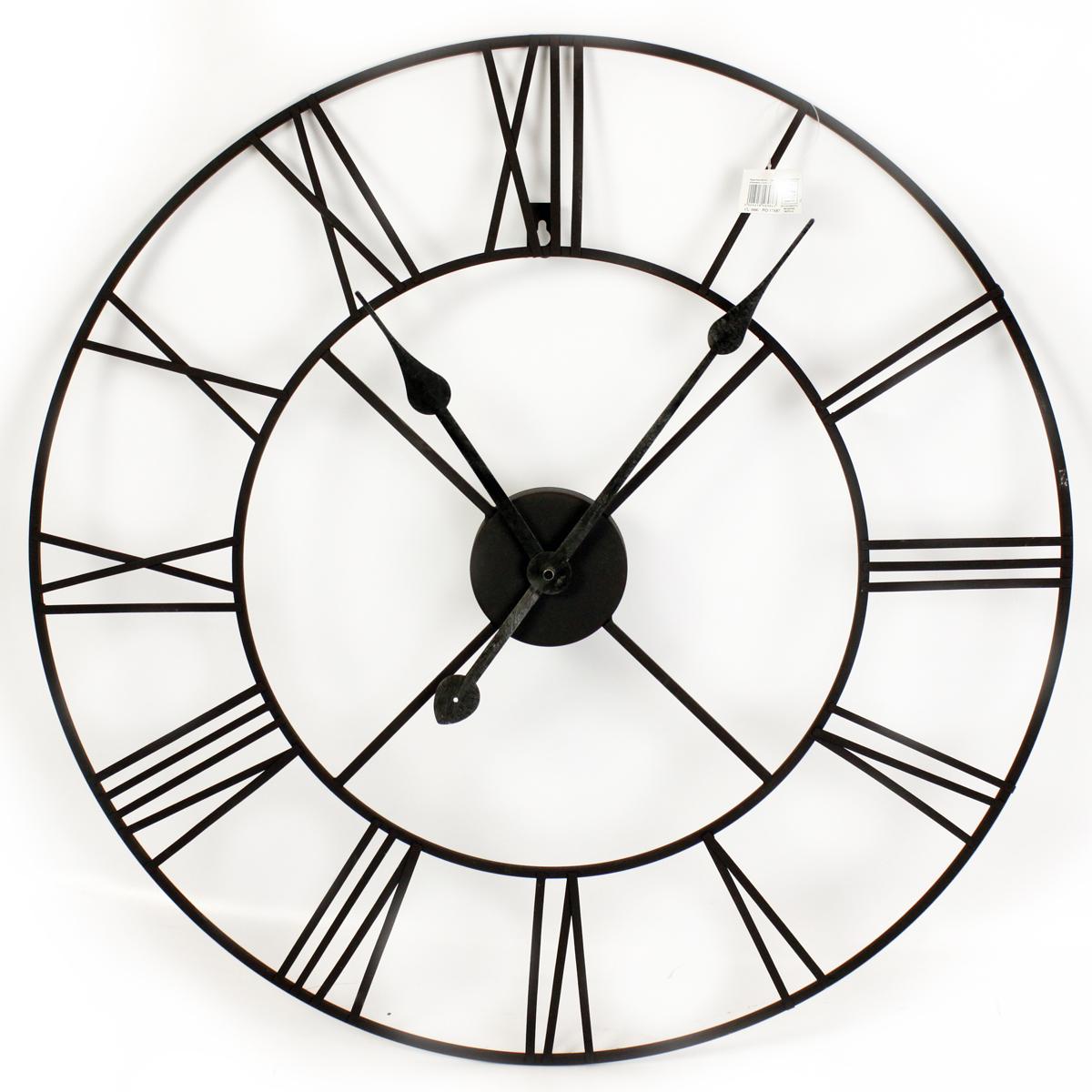 Horloge métal \'Vintage Design\' noir - 60 cm - [R0859]