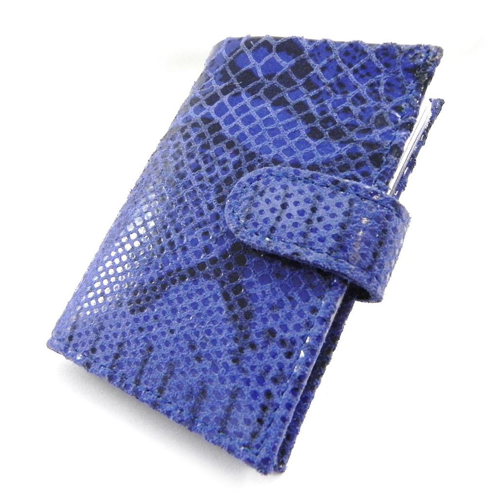 Porte-cartes Cuir \'Frandi\' bleu (motif python) - [I3354]