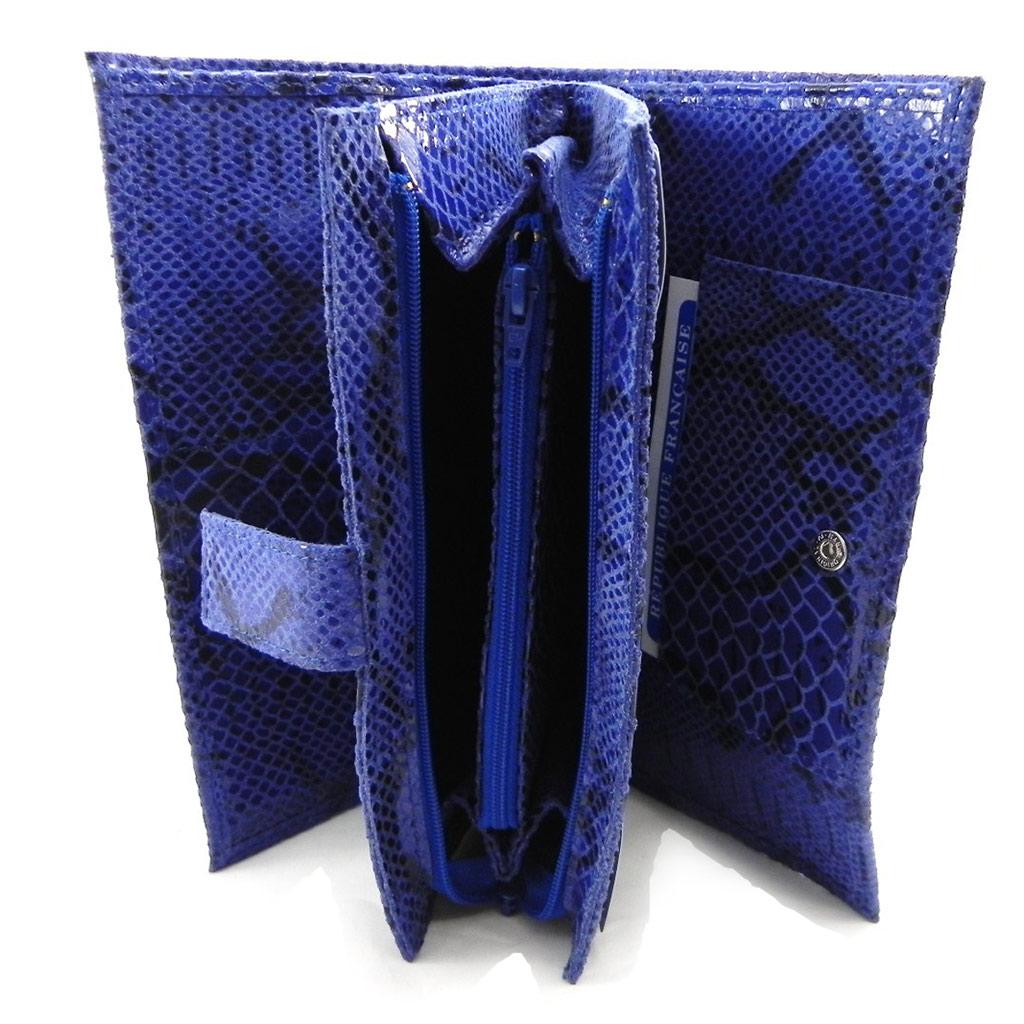 Compagnon Cuir \'Frandi\' bleu (motif python) - [I3358]