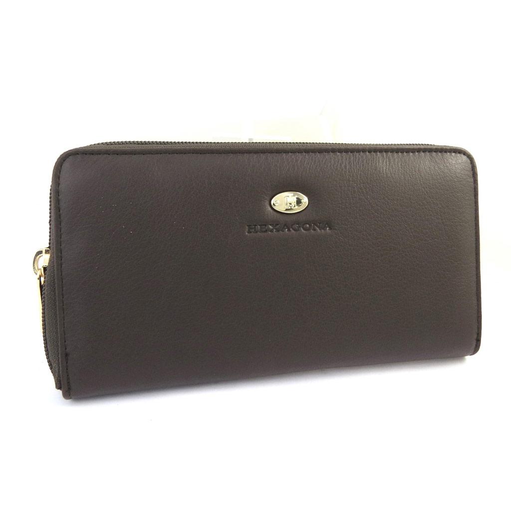 Grand portefeuille zippé cuir \'Hexagona\' marron foncé (cuir de vachette lisse) - [M2169]