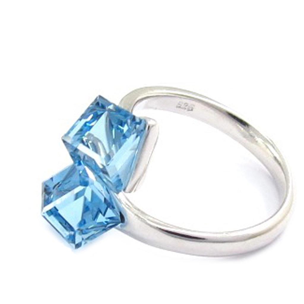Bague Argent \'Cristal\' bleu (Crystal) - [K2708]