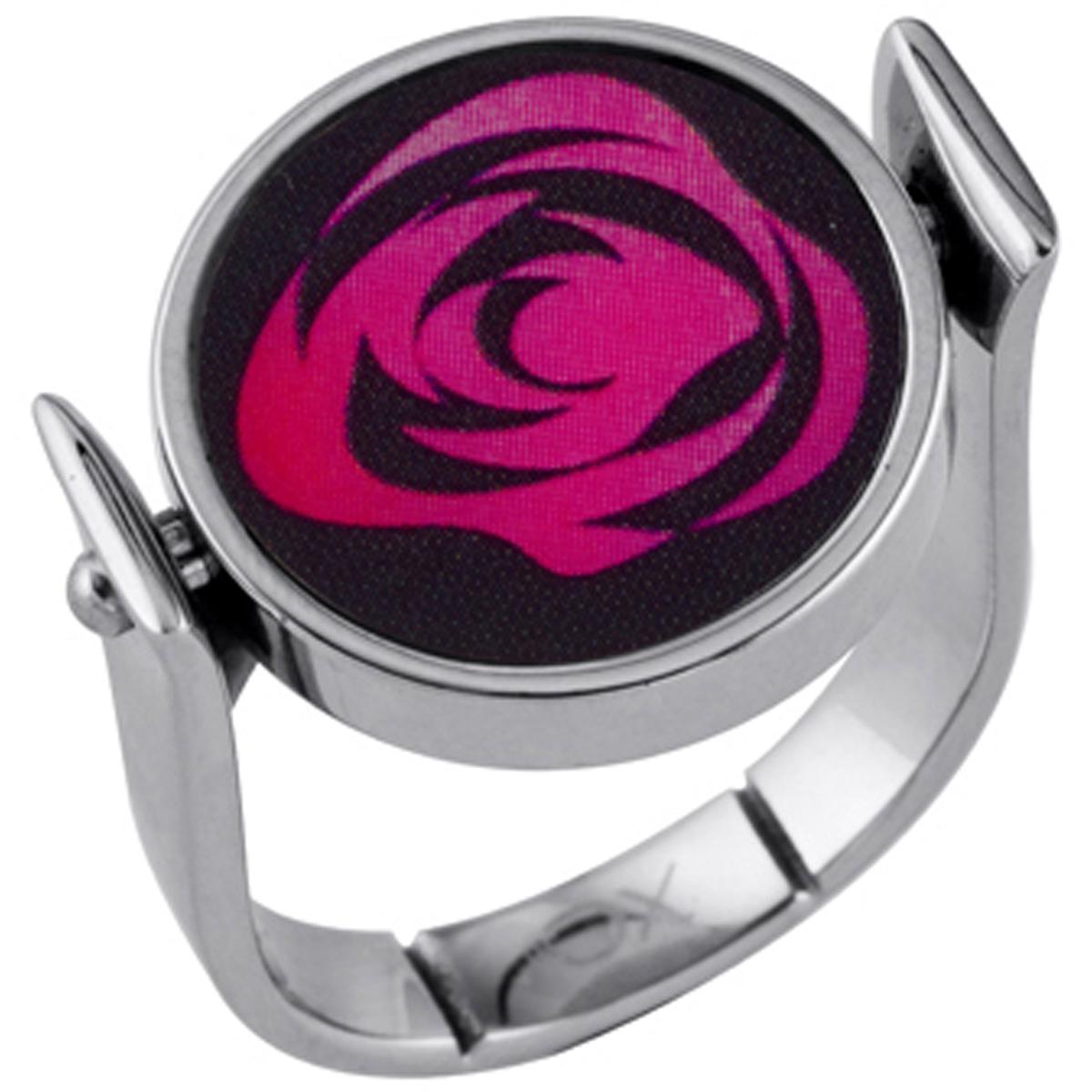 Bague acier \'Flora\' rose noir argenté - [I3452]
