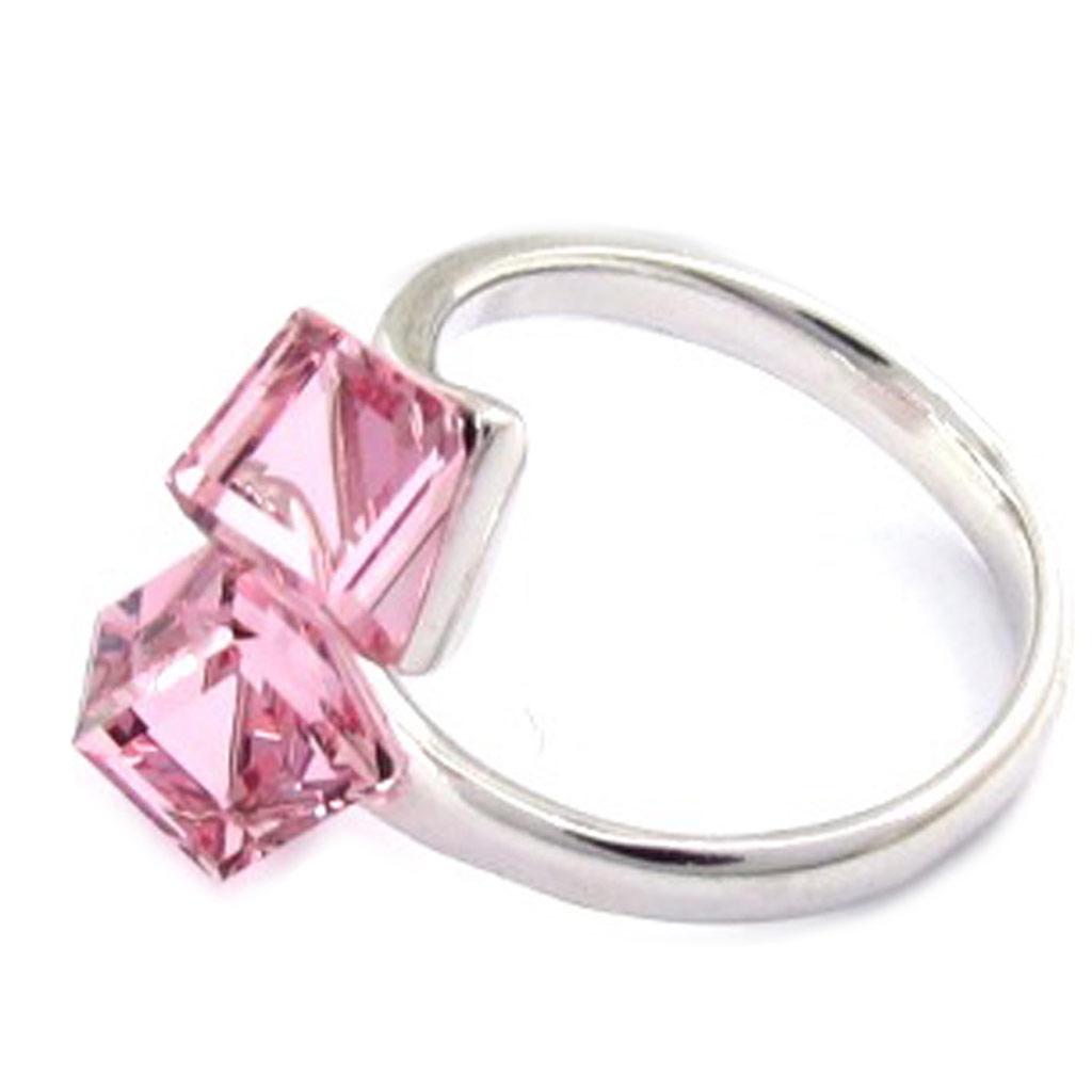 Bague Argent \'Cristal\' rose (cristal de Swarovski) - [K2709]