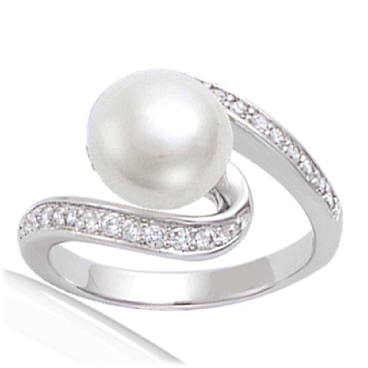Bague Argent \'Pearl Beauty\' Blanc argenté (rhodié) - 10 mm - [G2782]
