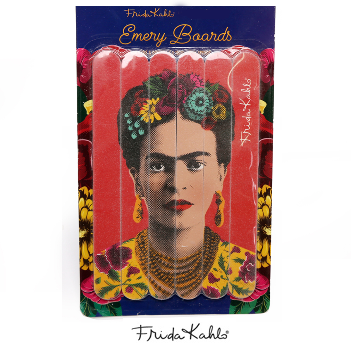 Set de 6 limes à ongles \'Frida Kahlo\' rose - 18x2 cm - [R0909]