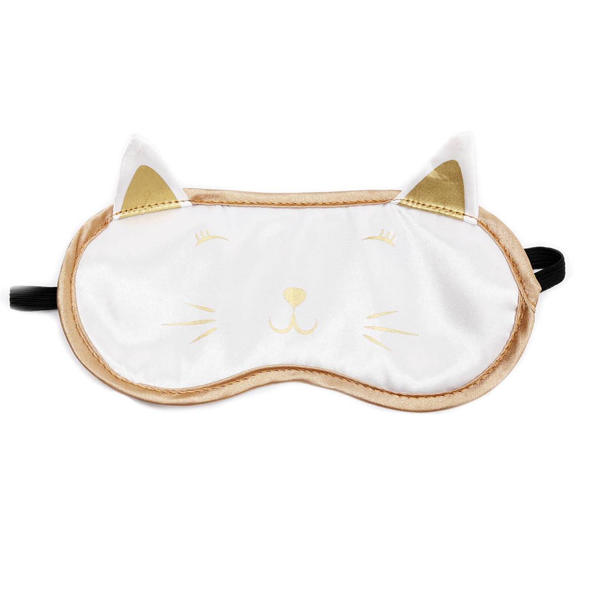 Masque de voyage / masque de nuit \'Chats\' blanc doré - 19x115 cm - [R0921]