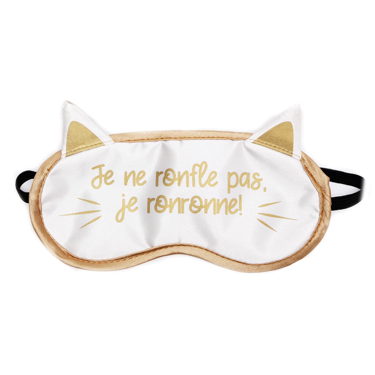 Masque de voyage / masque de nuit \'Chats\' blanc doré (je ne ronfle pas, je ronronne !) - 19x115 cm - [R0922]