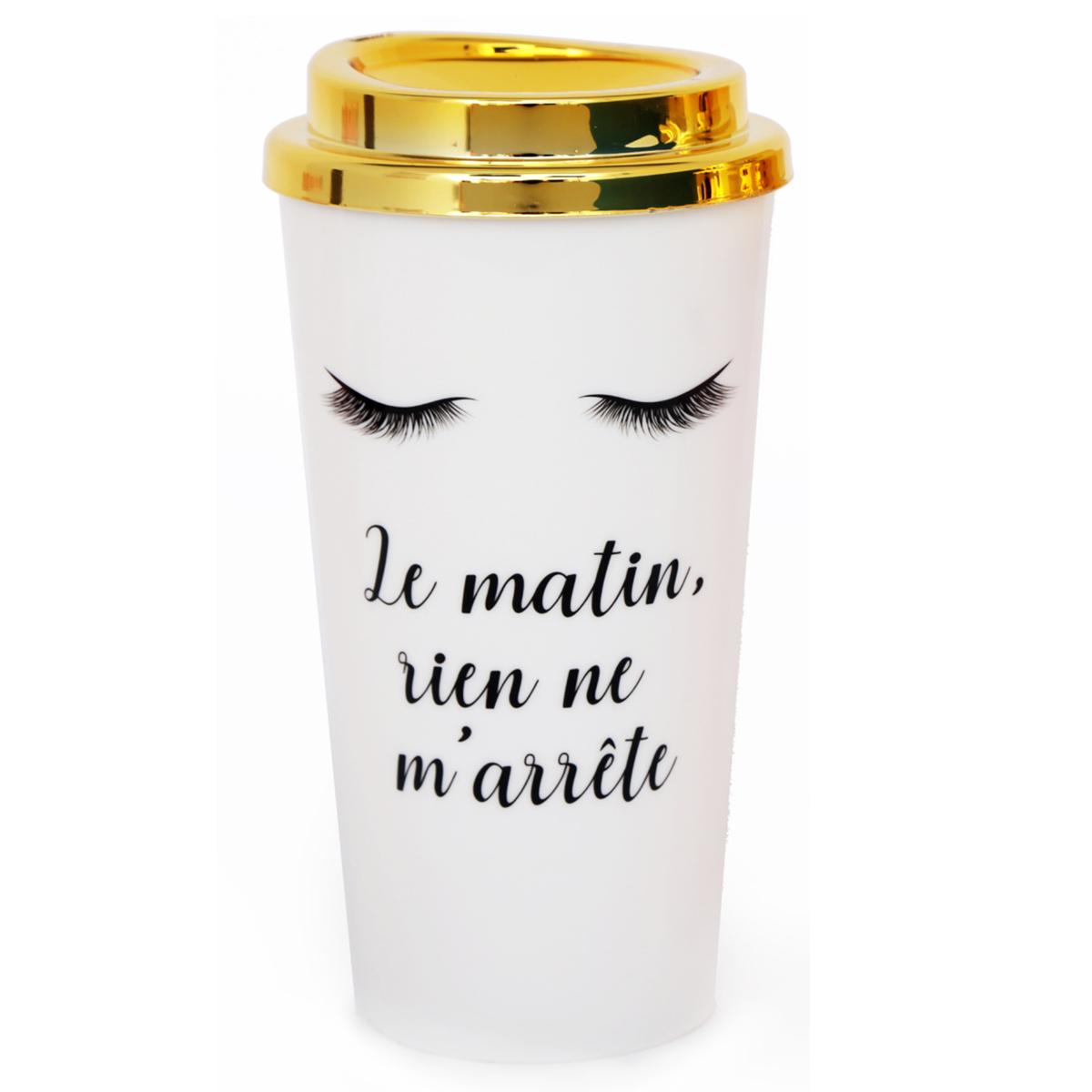 Mug de transport plastique \'Diva - Yeux Endormis\' blanc doré (Le matin, rien ne m\'arrête) - 175x7 cm (350 ml) - [R0927]