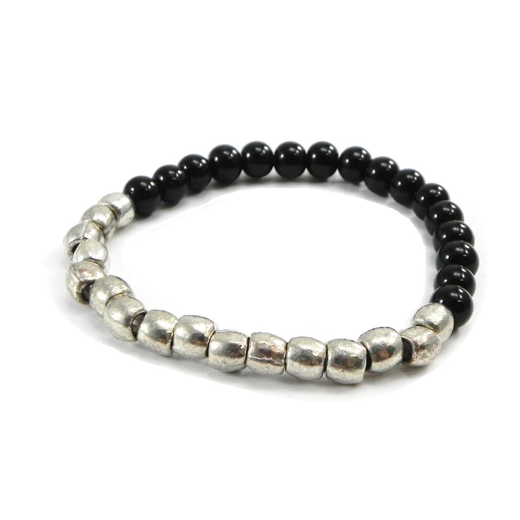 Bracelet \'Kilimanjaro\' noir argenté - [G2893]