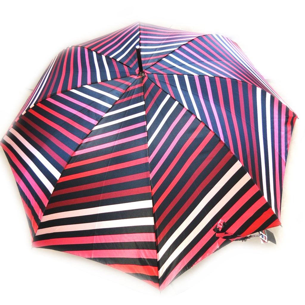 Parapluie canne Neyrat \'Rayures\' rouge satiné (Made in France) - [M2609]