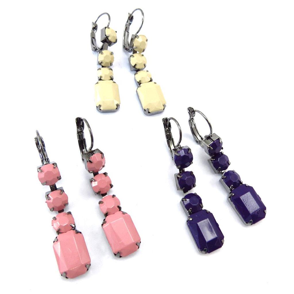 3 paires de boucles \'Scarlett\' rose beige violet - [K2807]