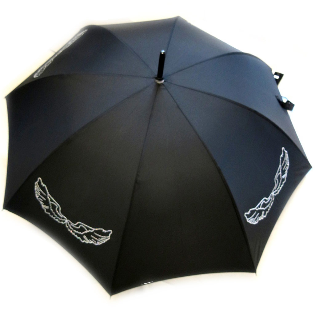 Parapluie canne Neyrat \'Les Ailes d\'Ange\' noir (Made in France) - [M2611]