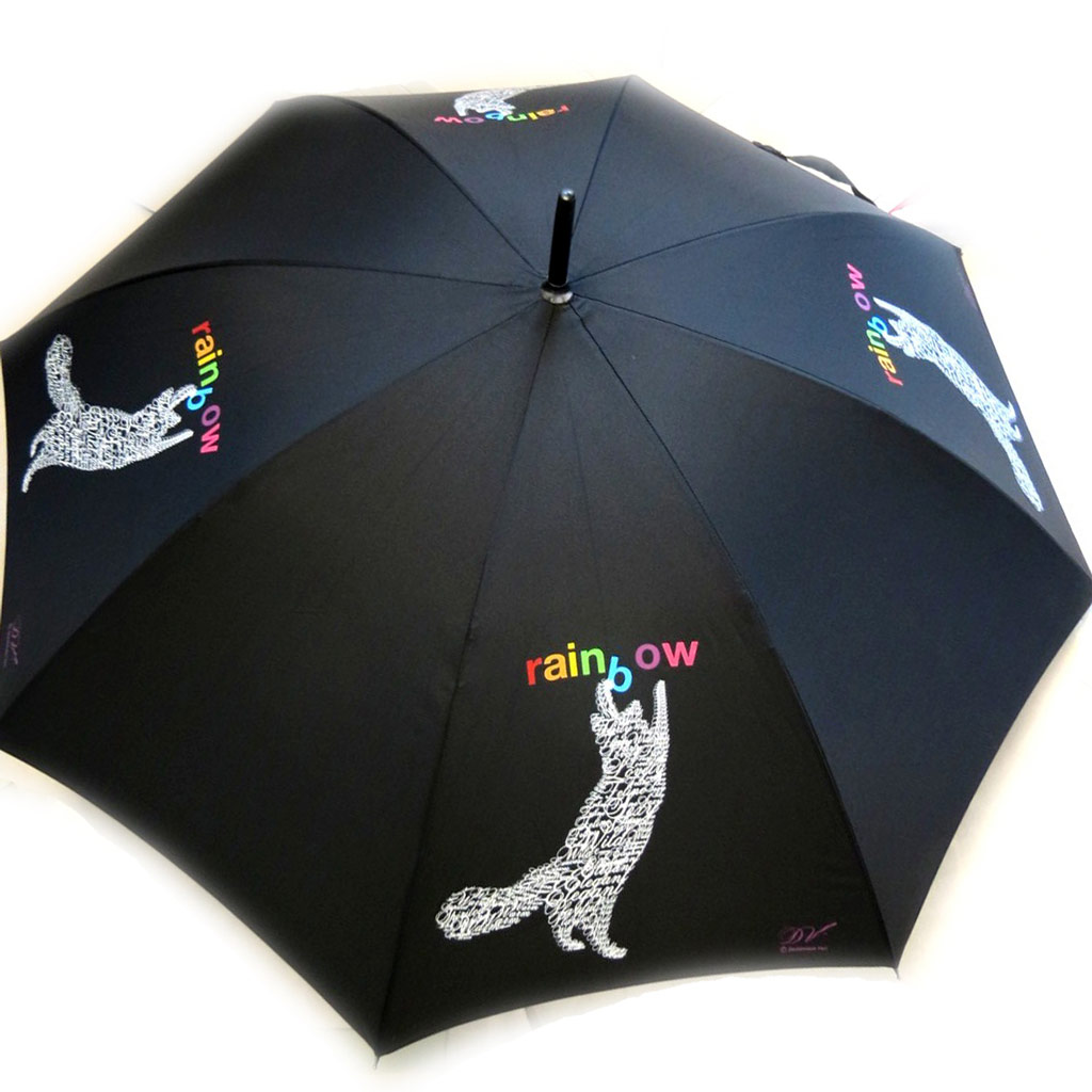 Parapluie canne Neyrat \'Wild about Words\' chat noir (Dominique Vari) - [M2616]