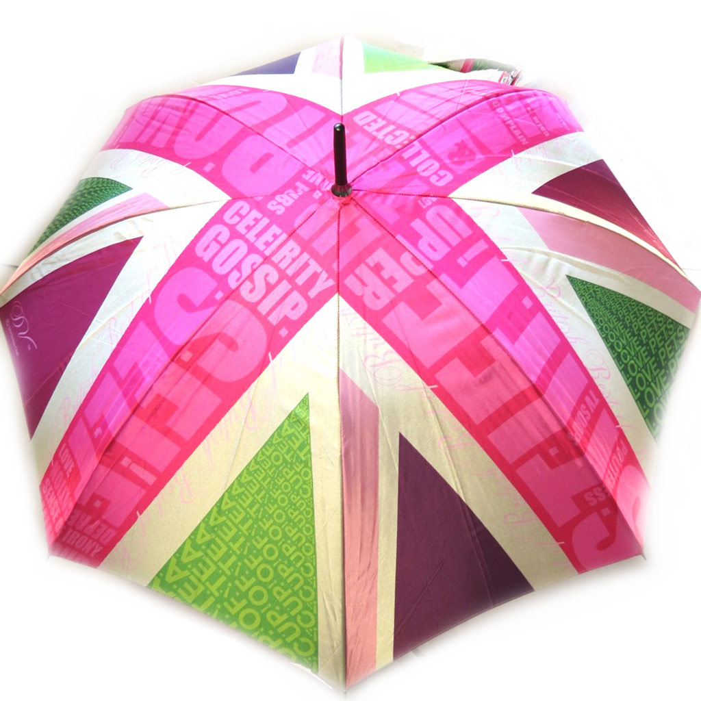Parapluie canne Neyrat \'Union Jack\' rose satiné (Dominique Vari) - [M2618]
