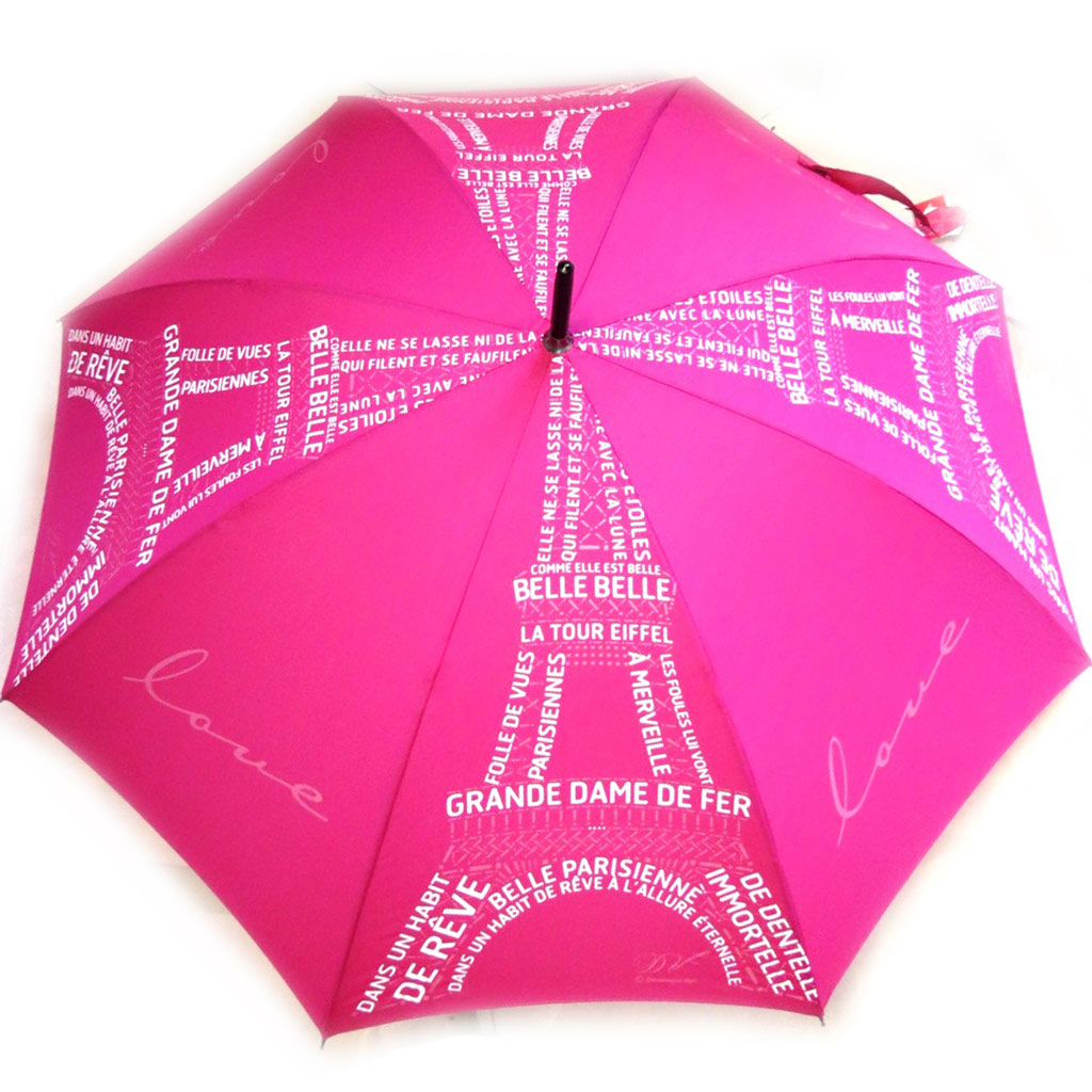 Parapluie canne Neyrat \'Tour Eiffel\' rose (Dominique Vari) - [M2619]