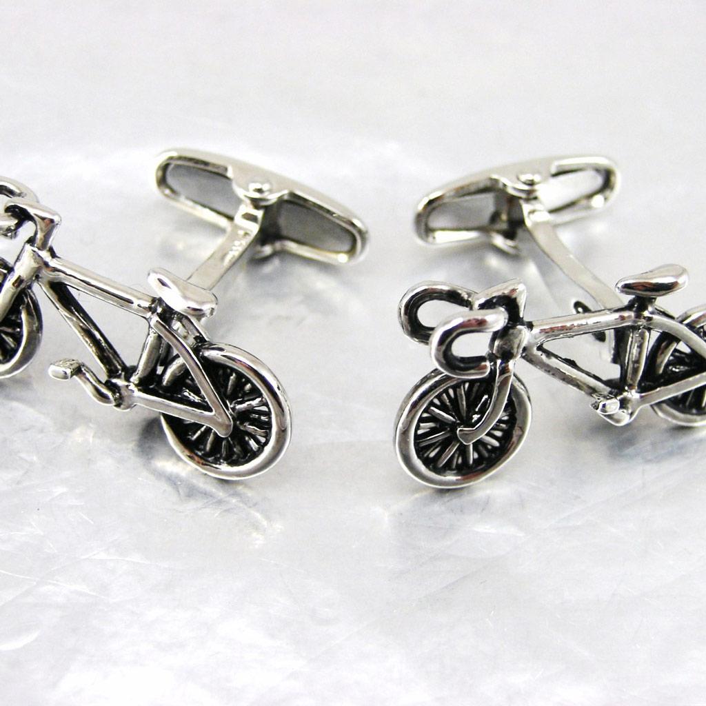 Boutons de Manchettes \'Bicyclettes\' Argenté - [F8181]
