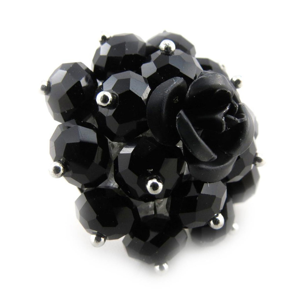Bague \'Mineralia\' noir - [J3605]
