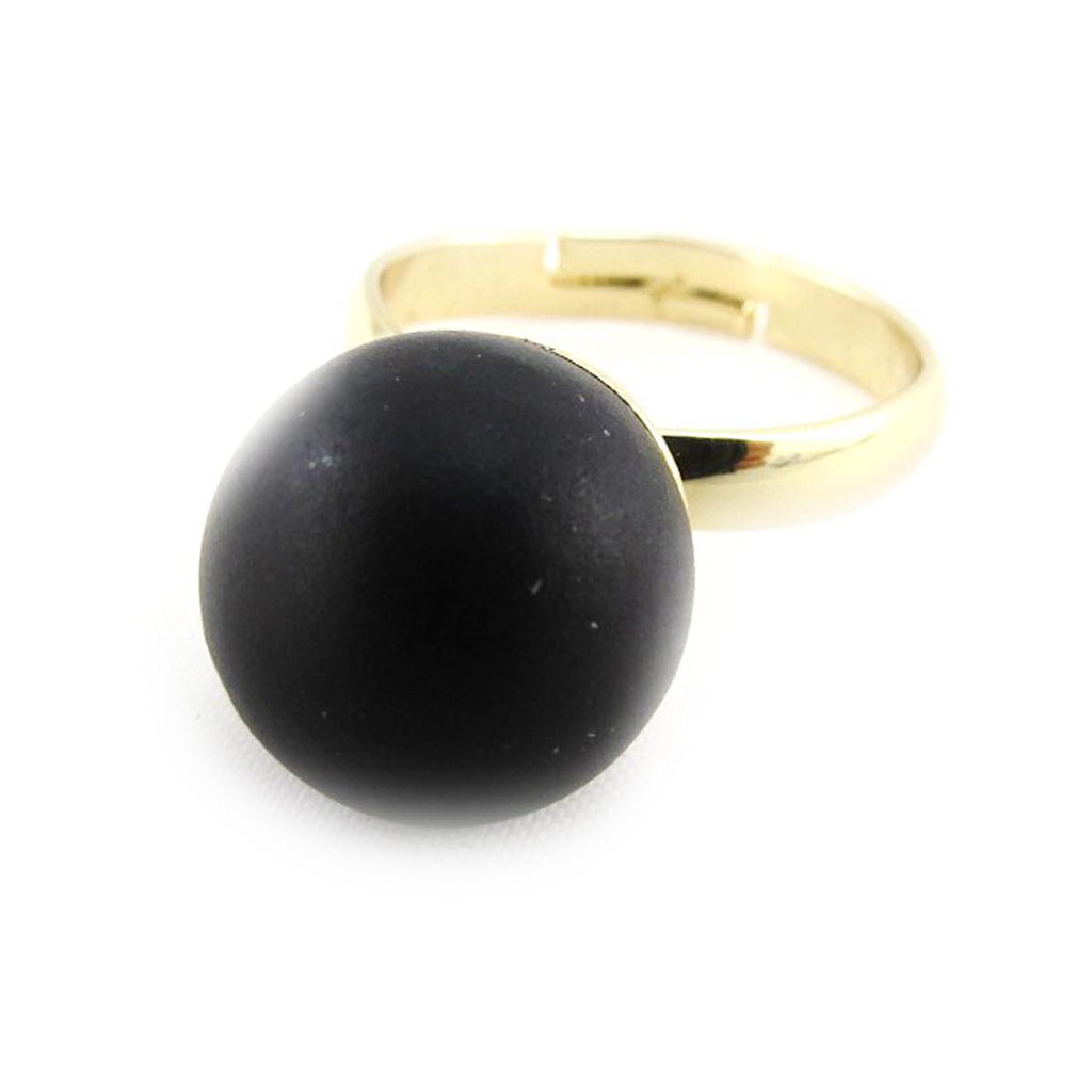 Bague \'Mineralia\' noir - [J3610]