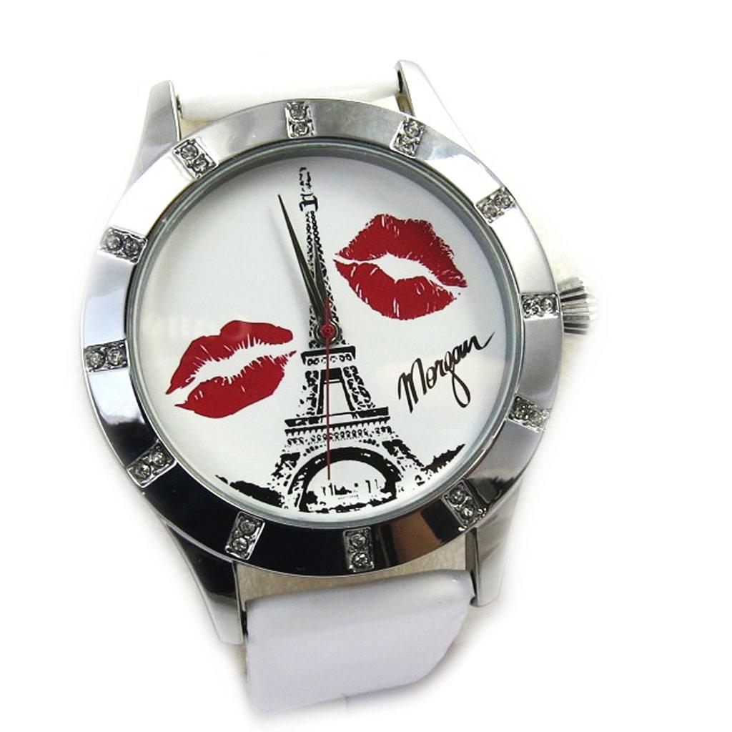 Montre créateur \'Morgan\' blanc argenté (Tour Eiffel) - [M2942]