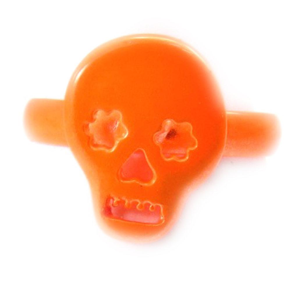 Bague \'Tête de Mort\' orange  - [K3075]