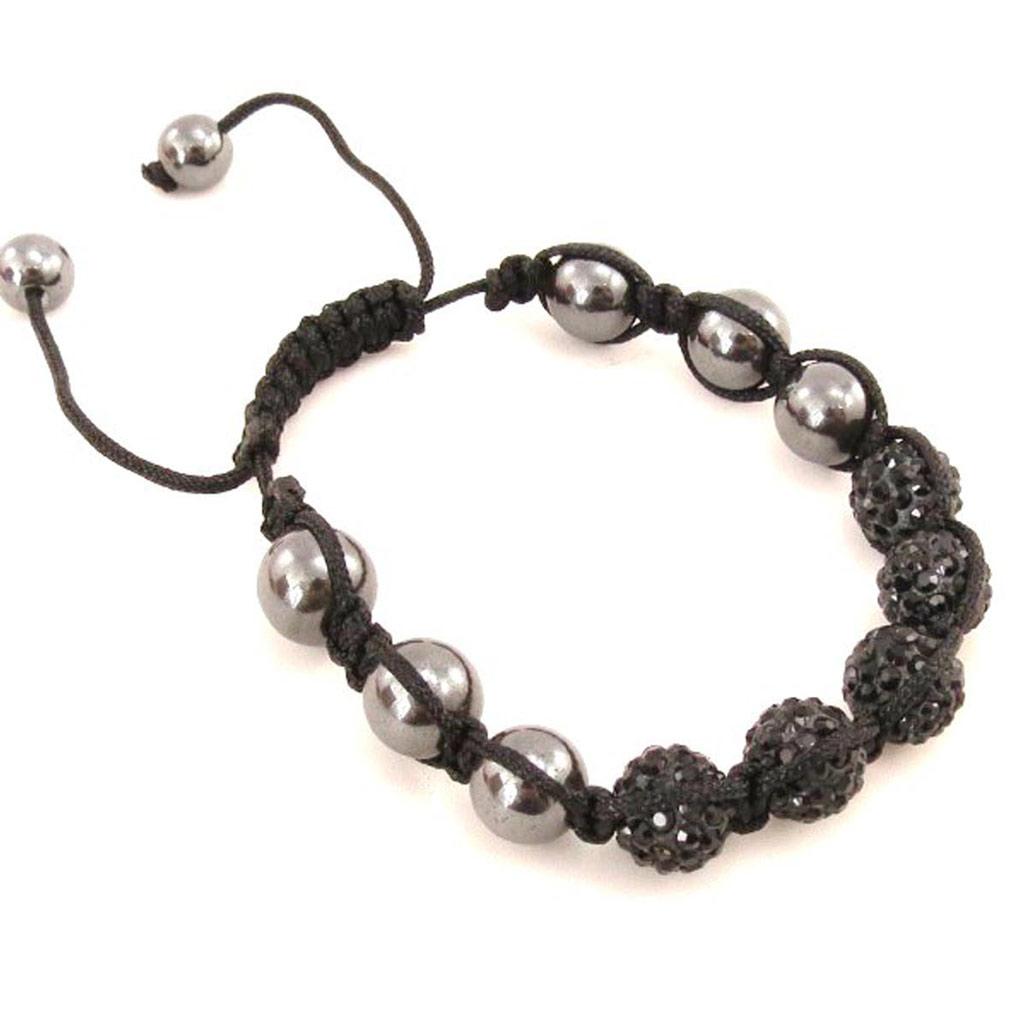Bracelet ethnique \'Shambhala\' noir - [J3720]