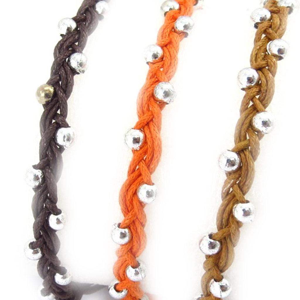 3 bracelets créateur \'Kilimanjaro\' orange marron - [K3080]