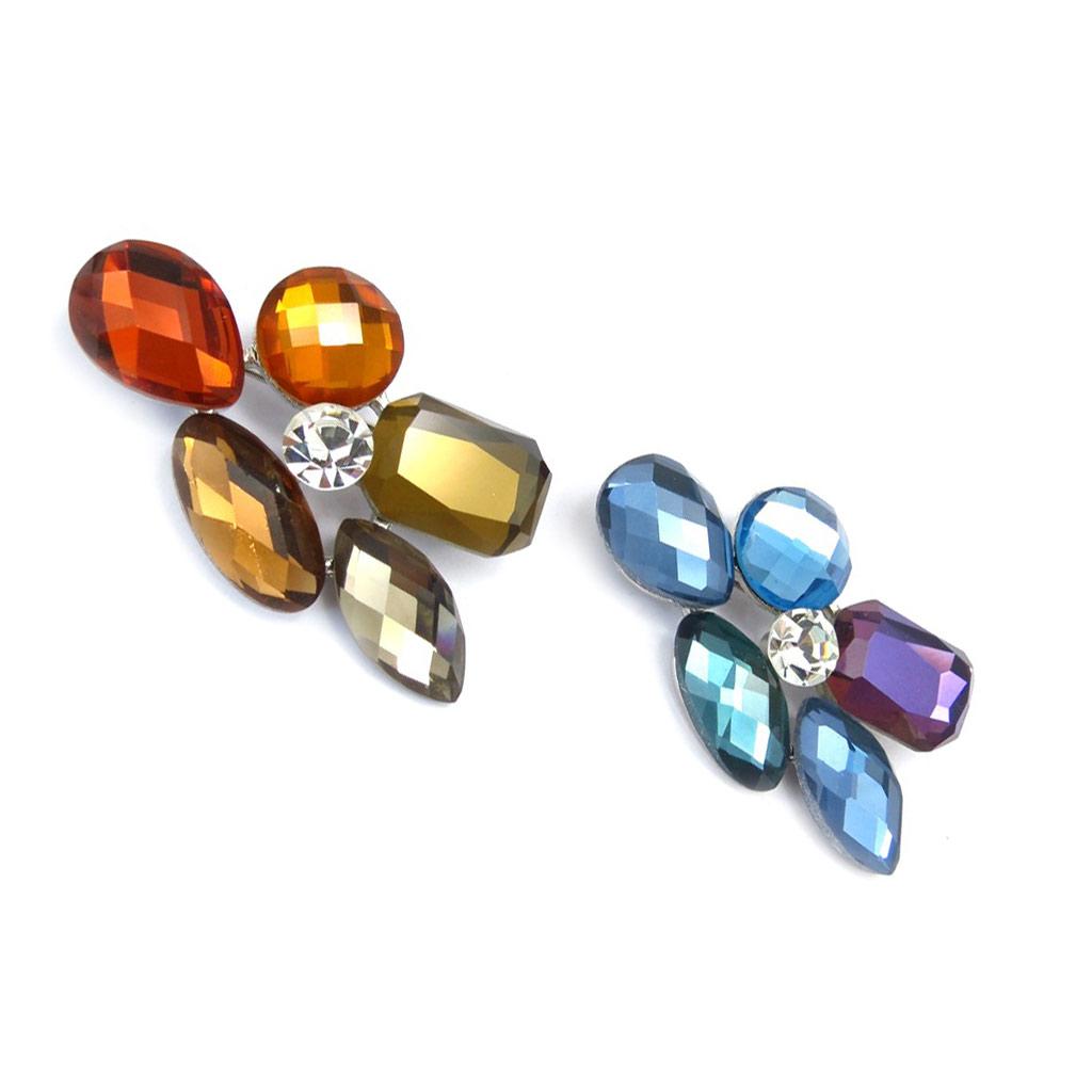 2 broches créateur \'Sissi\' bleu ambre - [K3091]