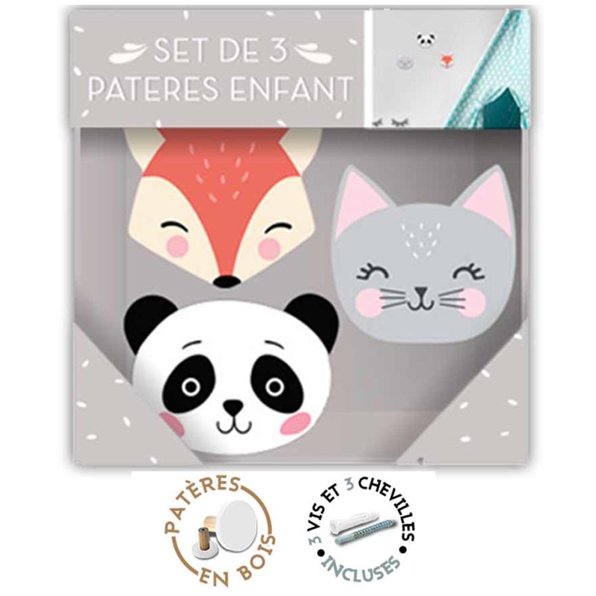 Trio de patères bois \'Renard Chat Panda\' orange gris blanc noir - 7x65 cm, 75x6 cm et 75x6 cm - [R1063]