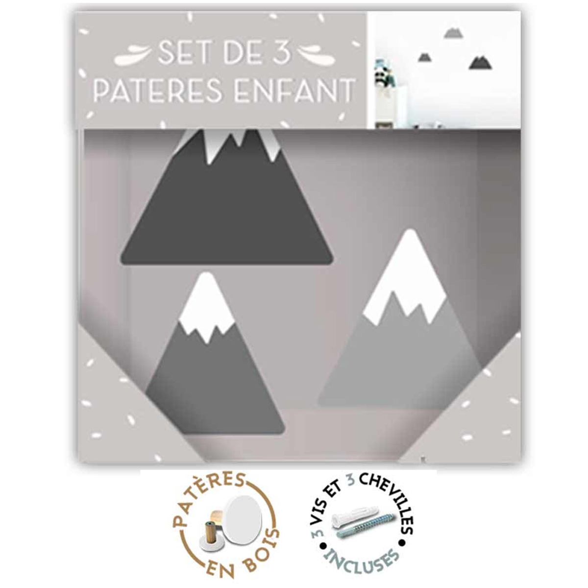 Trio de patères bois \'Montagnes\' gris - 85x85 cm, 75x75 cm et 65x65 cm - [R1065]